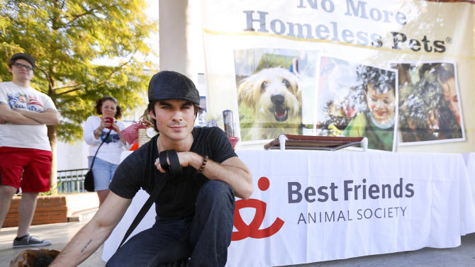 IMAGE DISTRIBUTED FOR BEST FRIENDS ANIMAL SOCIETY -  Ian Somerhalder teams up with Best Friends Animal Society's Strut Your Mutt event to help raise funds for local animal welfare groups and Best Friends, as well as awareness of the Best Friends No More Homeless Pets® initiative, on Saturday, Sept. 22, 2012 in Lafayette, La. (Photo by Jonathan Bachman/Invision for Best Friends Animal Society/AP Images)