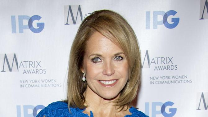 "FILE - In this April 23, 2012 file photo, Katie Couric arrives to the Matrix Awards in New York. Couric is launching a weekly Web series for Yahoo and ABC News in which she will discuss health, nutrition, parenting and wellness isues. The series, ""Katie's Take,"" will premiere Tuesday. Yahoo is to formally unveil the show Wednesday, April 25, at a presentation to advertisers in New York.  (AP Photo/Charles Sykes, file)"
