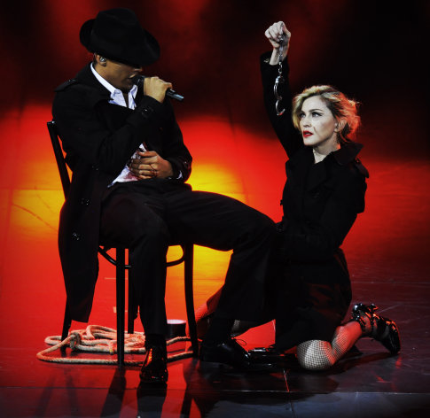 In this photo provided by Guy Oseary, Madonna performs on stage during her MDNA concert at Olympia Hall in Paris on Thursday, July 26, 2012. (AP Photo/Guy Oseary)