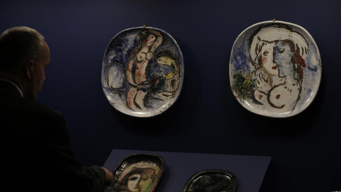 "In this photo taken Wednesday, Feb. 13, 2013, displayed are ceramics made by artist Marc Chagall on display for ""Chagall: Beyond Color,"" exhibit at the Dallas Museum of Art in Dallas. This will be the only U.S. venue to host the exhibit that opens to the public on Sunday. (AP Photo/LM Otero)"