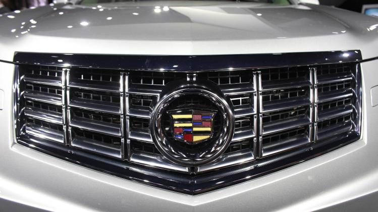 The front grill of a 2013 Cadillac SRX Crossover is shown at the 2012 New York International Auto Show