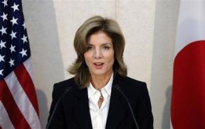 Newly appointed U.S. ambassador to Japan Kennedy gives a statement shortly after her arrival in Japan at Narita International Airport in Narita