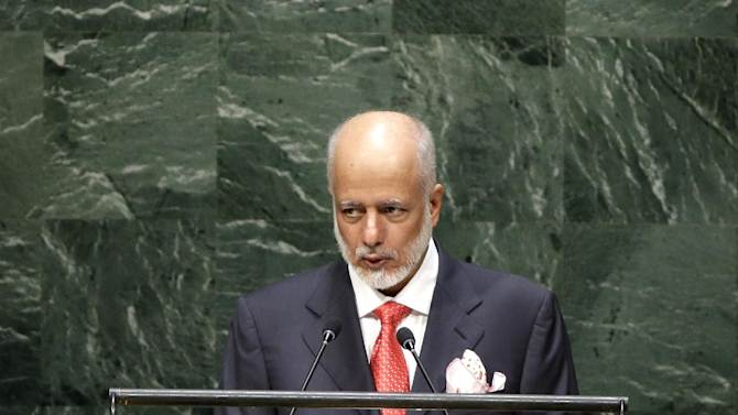 Yousef Bin Al-Alawi Bin Abdulla, Minister of State for Foreign Affairs of Oman, speaks during the 69th session of the United Nations General Assembly at U.N. headquarters, Tuesday, Sept. 30, 2014. (AP Photo/Seth Wenig)