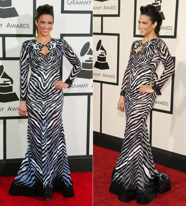 Bei den Grammys 2014 machte Paula Patton auf wild (Bilder: Getty Images)
