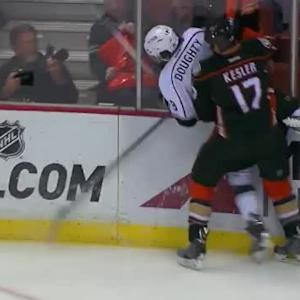 Ryan Kesler Hit on Drew Doughty (04:37/1st)