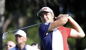 Julien Quesne of France tees off on the second hole during the third round of the inaugural Turkish Airlines Open in the southwest city of Antalya