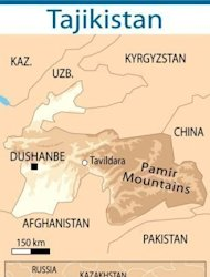 Map of Tajikistan and neighbouring countries. Tajik government forces have declared a temporary ceasefire to allow for talks in a deadly operation to reassert government control in the southeast over militants loyal to an ex-warlord