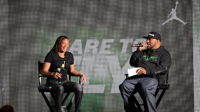 Jordan Brand athlete, Paralympic gold medalist April Holmes, answers questions from Bun B at Jordan Brand's Flight Experience on Friday, February 15, 2013 in Houston, TX.  Holmes has been a Jordan Brand athlete since 2005.  (Photo by Omar Vega/Invision for Jordan Brand/AP Images)