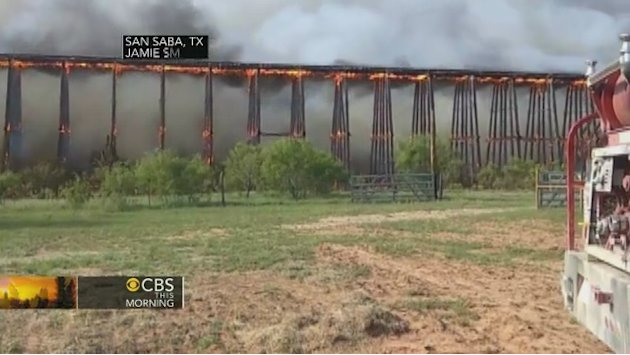 Watch: Fiery collapse of railroad …