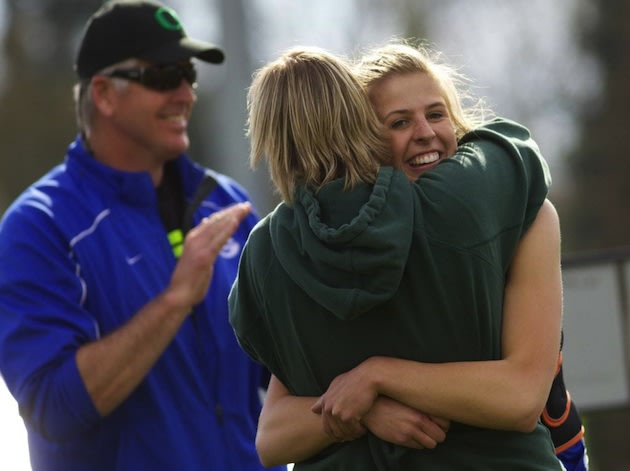 Haley Crouser celebrates setting a new prep girls javelin record — Oregon Live