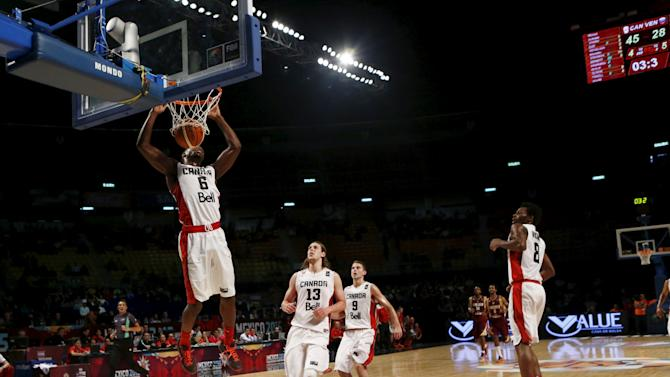 Canada's Melvin Ejim leaps to the basket to score against Venezuela during their 2015 FIBA Americas Championship basketball game