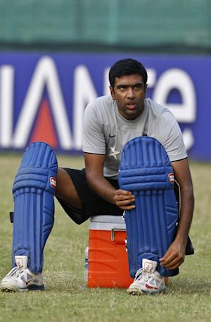 India's Ravichandran Ashwin prepares his pad during a training session ahead of their ICC Twenty20 Cricket World Cup semifinal match against South Africa in Dhaka, Bangladesh, Wednesday, April 2, 2014. (AP Photo/A.M. Ahad)