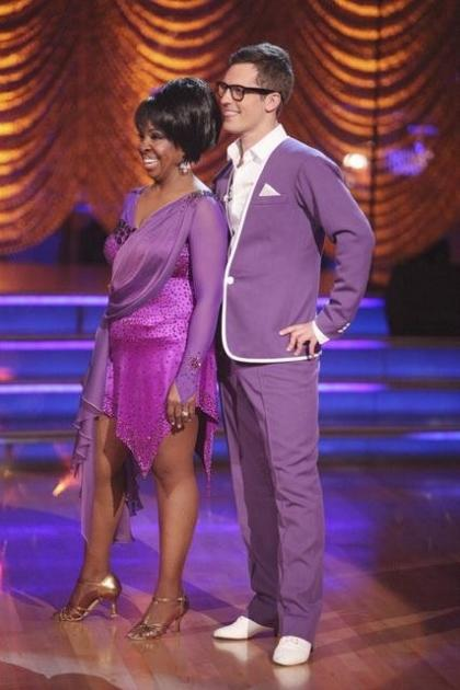 Gladys Knight and Tristan MacManus listen to the judges during Week 6, Motown week, on 'Dancing,' April 23, 2012 -- ABC