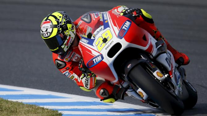 Ducati MotoGP rider Andrea Iannone of Italy rides during a free practice session at the Twin Ring Motegi circuit ahead of Sunday's Japanese Grand Prix in Motegi,Japan