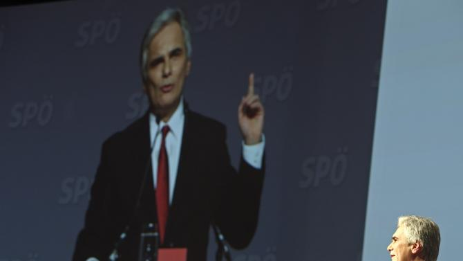Faymann delivers his speech at the bi-annual party conference in Vienna