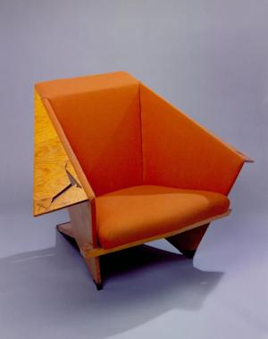 This photo provided July 14, 2011, by the Frank Lloyd Wright Foundation, Scottsdale, Ariz., shows an armchair from Wright's Taliesen West in Scottsdale, Ariz. SC Johnson plans to display a collection of artifacts highlighting Wright's influence on families at it's Racine, Wis., headquarters starting next spring that will include this armchair. (AP Photo/Courtesy Frank Lloyd Wright Foundation)