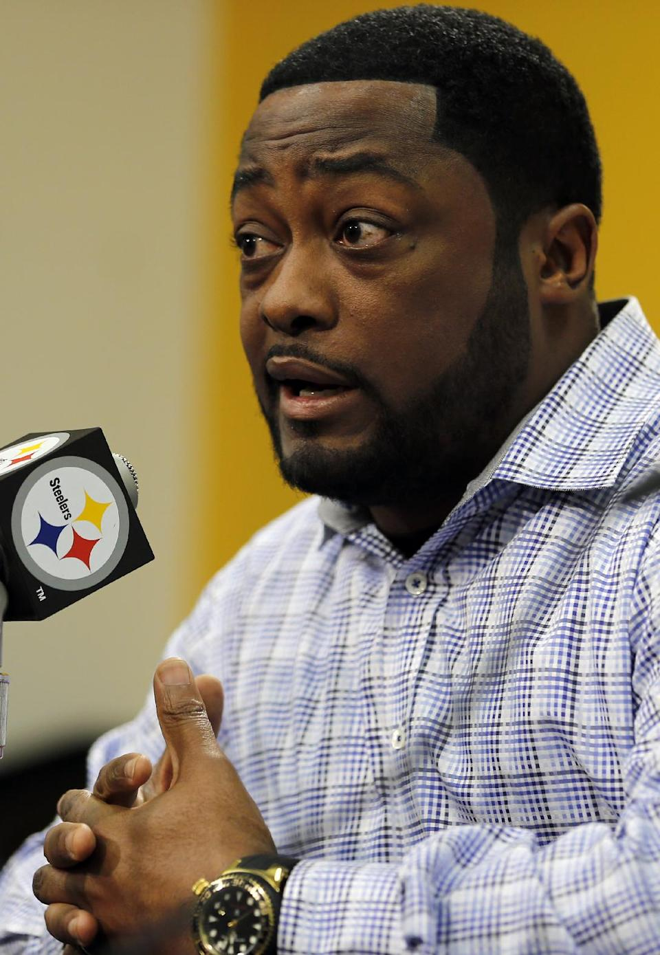 Pittsburgh Steelers head coach Mike Tomlin talks about their team's needs during a news conference on Monday, April 22, 2013 concerning the upcoming NFL football draft in Pittsburgh. (AP Photo/Keith Srakocic)