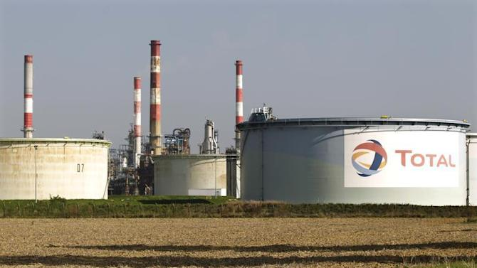 General view of the French oil giant Total refinery of Grandpuits