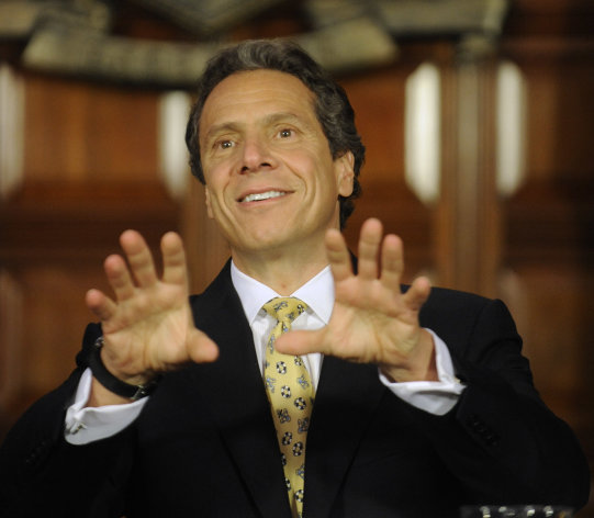 New York Gov. Andrew Cuomo speaks during a news conference at the Capitol in Albany, N.Y., on Monday, June 4, 2012. Cuomo is proposing the decriminalization of the possession of small amounts of marijuana in public view. (AP Photo/Tim Roske)