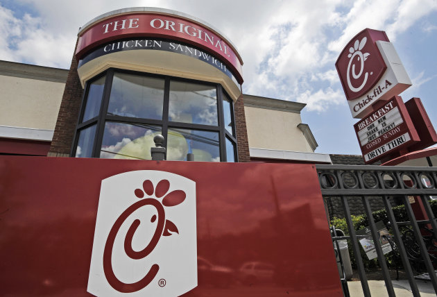 FILE - This Thursday, July 19, 2012 file photo shows a Chick-fil-A fast food restaurant in Atlanta. Earlier this month, Chick-fil-A set off a furor opposing same-sex unions. Other companies are brushing off fears that support for gay marriage could hurt their bottom line. (AP Photo/Mike Stewart, File)