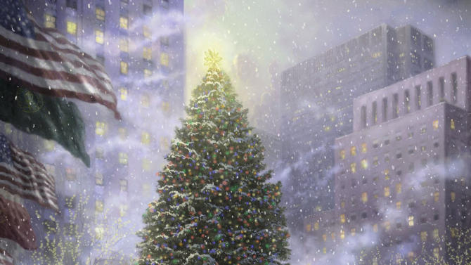 "FILE - This undated photo provided by The Thomas Kinkade Company via PR Newswire shows ""Christmas in New York"" by Thomas Kinkade.  Kinkade, 54, the self-described ""Painter of Light,"" died April 6 at his home in Los Gatos, Calif.  (AP Photo/PR Newswire, The Thomas Kinkade Company)"