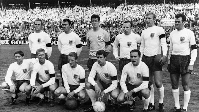 Jimmy Greaves (standing 2nd left) with the England team after a victory over Denmark in a 1966 friendly