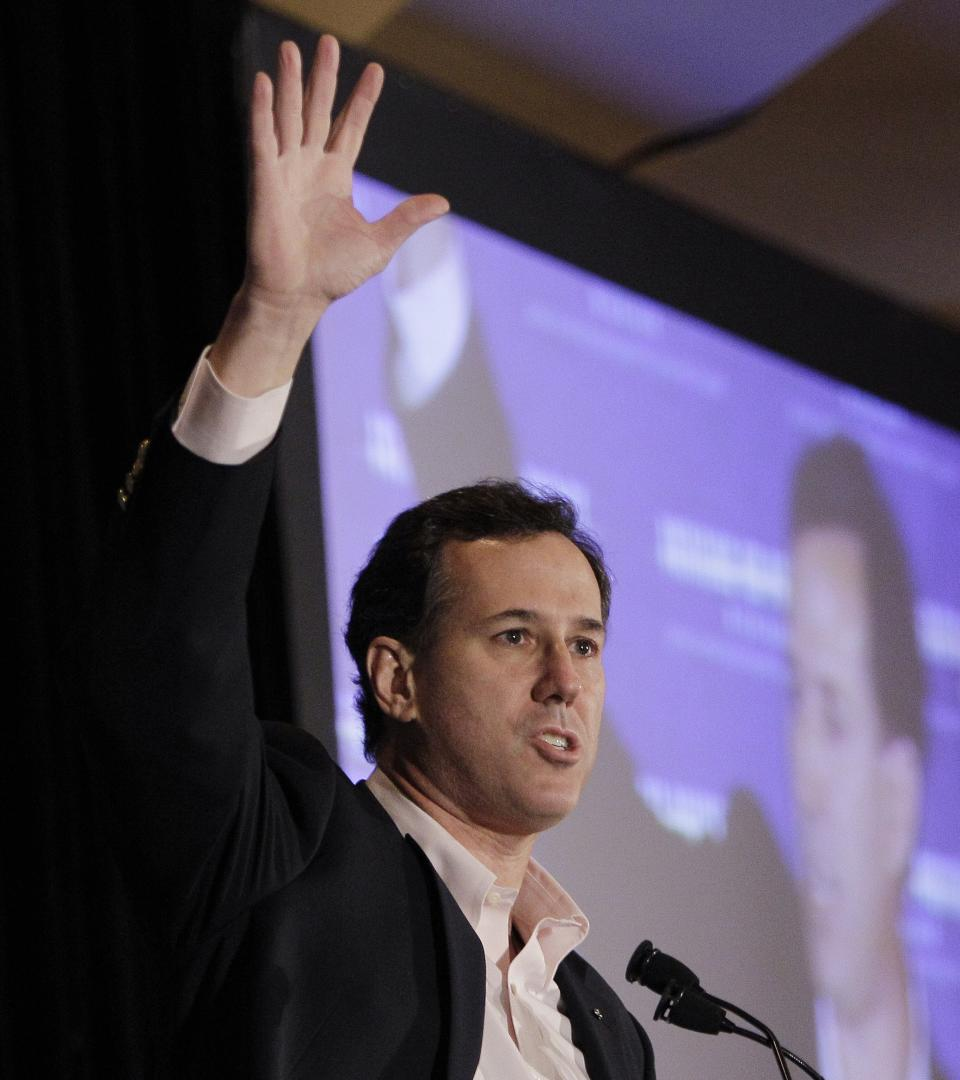 Republican presidential candidate, former Pennsylvania Sen. Rick Santorum, speaks at the San Marino Club during a campaign stop, Saturday, Feb. 25, 2012, in Troy, Mich.  (AP Photo/Eric Gay)