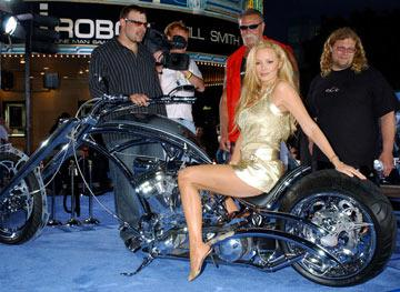 "Cindy Margolis with the Teutuls of ""American Choppers"" at the Los Angeles premiere of Twentieth Century Fox's I, Robot"