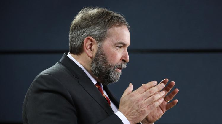 NDP leader Mulcair speaks during a news conference in Ottawa