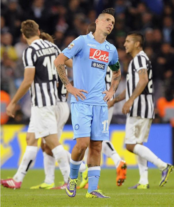 Napoli's Hamsik reacts during Italian Serie A match against Juventus in Turin