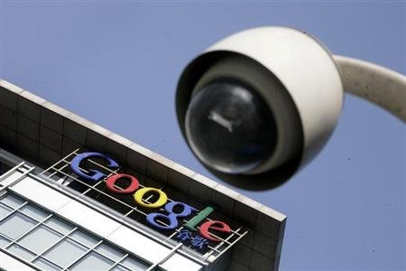The Google logo is seen on the top of its China headquarters building in Beijing