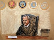 This courtroom drawing shows Judge James Pohl overseeing the hearing for Khalid Sheikh Mohammed and his four co-defendants at the US Naval Base in Guantanamo Bay, Cuba, on May 5