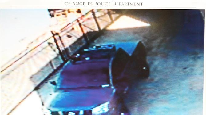 "This undated photo released by the Los Angeles Police Department shows a security camera video grab of the vehicle believed to be driven by suspect Christopher Dorner, a former Los Angeles officer. Dorner, who was fired from the LAPD in 2008 for making false statements, is linked to a weekend killing in which one of the victims was the daughter of a former police captain who had represented him during the disciplinary hearing. Authorities believe Dorner opened fire early Thursday on police in cities east of Los Angeles, killing an officer and wounding another.  Police issued a statewide ""officer safety warning"" and police were sent to protect people named in the posting that was believed to be written by Dorner.  (AP Photo/Los Angeles Police Department)"