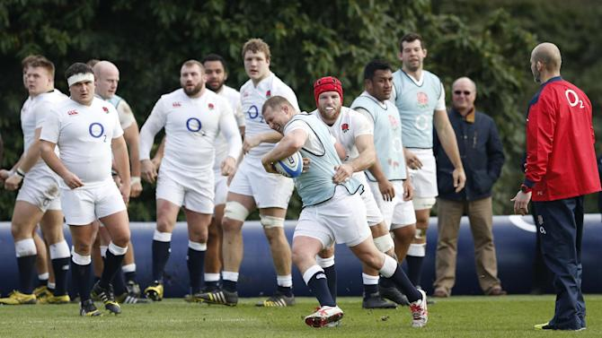 England's Dylan Hartley and James Haskell during training