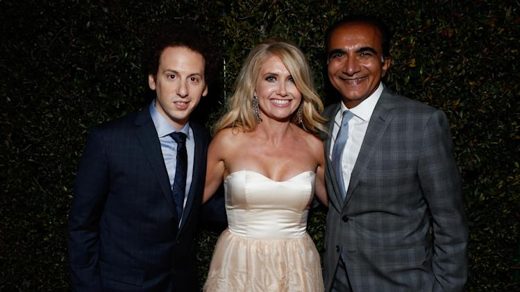 From left, actors Josh Sussman,Tess Hunt and Iqbal Theba attend the Fox Golden Globes Party on Sunday, January 13, 2013, in Beverly Hills, Calif. (Photo by Todd Williamson/Invision for Fox Searchlight/AP Images)