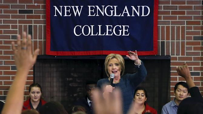Democratic U.S. presidential candidate Hillary Clinton takes questions during student town hall in Henniker, New Hampshire
