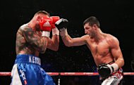 Carl Froch (right) in action with Mikkel Kessler during their IBF Middleweight Championship fight at the O2 Arena, London.