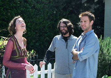Julianne Nicholson , Matthew Davis and director  Wally Wolodarsky on the set of Lantern Lane's Seeing Other People