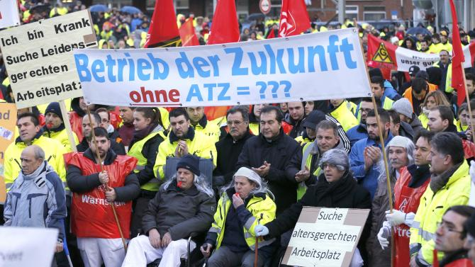 Day shift workers and members of union IG Metall stage warning strike at Ford car factory in Cologne
