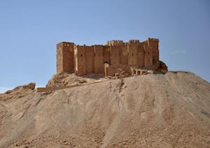 The castle of the ancient Syrian city of Palmyra, seen…