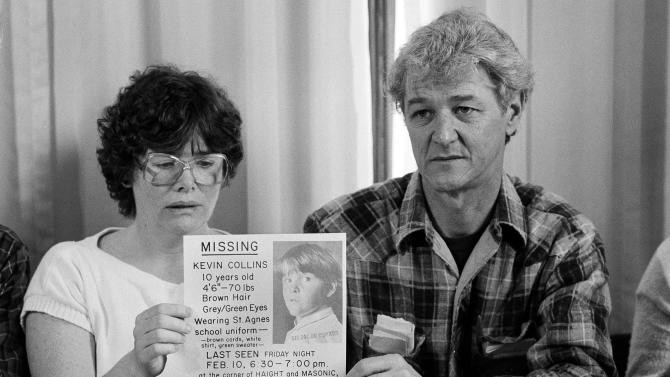 FILE - In this March 2, 1984 file photo, Ann and David Collins hold up a copy of a poster for their missing child Kevin Collins, during a news conference in San Francisco. Kevin Collins disappeared on Feb. 10, 1984 while returning home from basketball practice. On Weds., Feb. 6, 2013, San Francisco police plan to provide an update on the investigation into the high-profile disappearance of 10-year-old Kevin Collins in 1984. (AP Photo/Paul Sakuma)