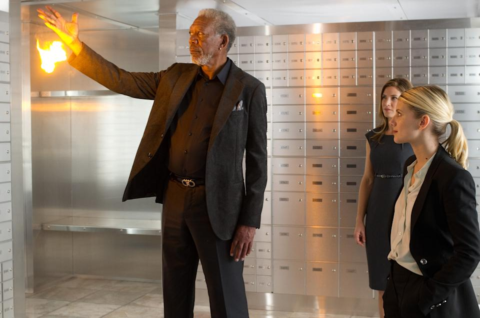 "This film image released by Summit Entertainment shows Morgan Freeman, left, in a scene from ""Now You See Me."" (AP Photo/ Summit Entertainment, Barry Wetcher)"