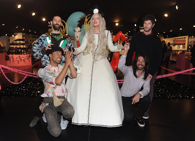 NEW YORK, NY - NOVEMBER 21:  Lady Gaga (C) poses with Christophe Hamaide Pierson, Makode Linde, No Mello and Eli Sudbrack in Gaga's Workshop at Barneys New York on November 21, 2011 in New York City.  (Photo by Jamie McCarthy/Getty Images for Barneys New York)