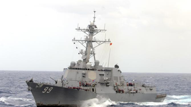 The guided-missile destroyer USS Farragut operating in heavy seas in the Atlantic Ocean