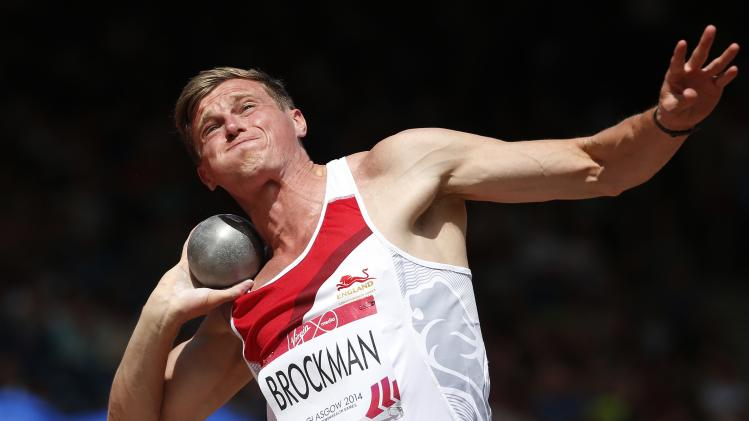 England's Brockman competes in the Decathlon Shot Put at the 2014 Commonwealth Games in Glasgow, Scotland