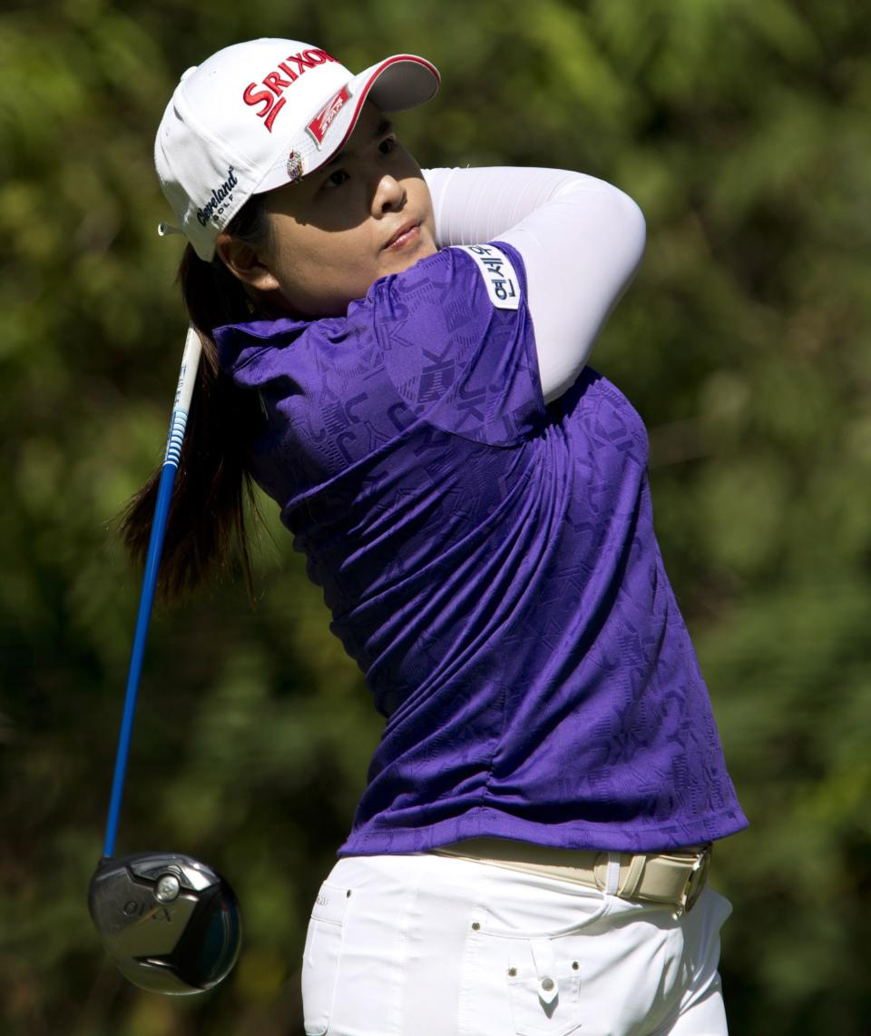 Inbee Park, of South Korea, tees off on the sixth hole during the LPGA Tour's Canadian Women's Open golf tournament, Sunday, Aug. 26, 2012, at the Vancouver Golf Club in Coquitlam, British Columbia. (AP Photo/The Canadian Press, Darryl Dyck)