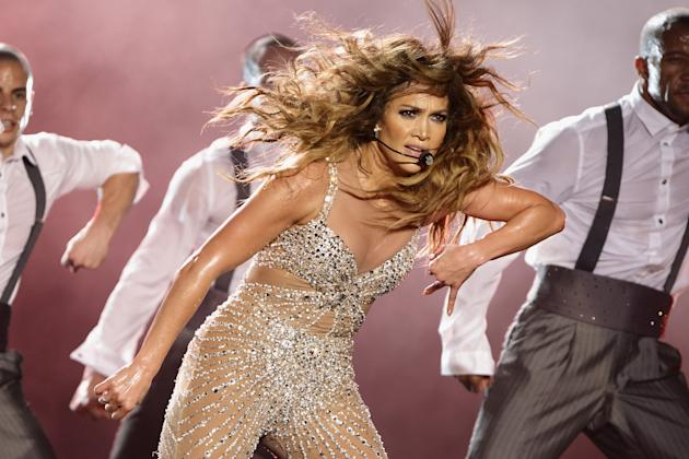 SINGAPORE - DECEMBER 04: Jennifer Lopez performs live on stage during her 'Dance Again World Tour' at The Meadow, Gardens by the Bay on December 4, 2012 in Singapore. (Photo by Suhaimi Abdullah/Getty