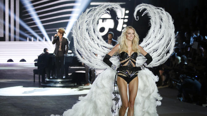 A model presents a creation during the Victoria's Secret Fashion Show in New York