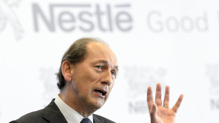 Nestle CEO Paul Bulcke speaks during the 2012 full-year results press conference of Nestle in Vevey, Switzerland, Thursday, Feb. 14, 2013. Nestle SA, the world's biggest food and drinks maker, predicted another challenging year ahead but overcame tough global economic conditions to post a full-year net profit Thursday, Feb. 14, 2013, of 10.6 billion Swiss francs (US dollar 11.55 billion) for 2012. (AP Photo/Keystone, Laurent Gillieron)