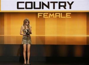Musician Taylor Swift accepts the favorite country female artist at the 41st American Music Awards in Los Angeles